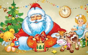 Обои мишка, елка, украшения, кукла, часы, корова, праздник, гирлянда, дед мороз
