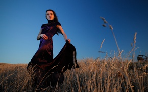 Картинка girl, dress, countryside, blue hour
