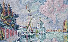 Картинка корабль, пристань, картина, городской пейзаж, Поль Синьяк, пуантилизм, Таможня. Венеция