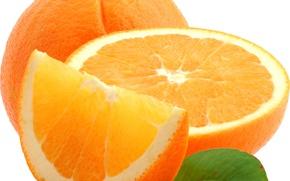 Обои апельсин, лист, цитрус, макро