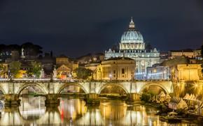 Обои река, фонари, дворец, Рим, ночь, огни, деревья, дома, Италия, мост