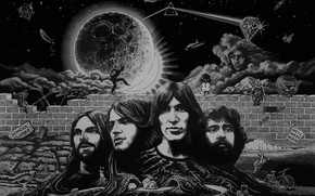 Обои Рисунок, Музыка, Луна, Треугольник, Pink Floyd, Арт, Призма, Рок, Тёмная сторона Луны, Музыканты, Пинк Флойд, ...