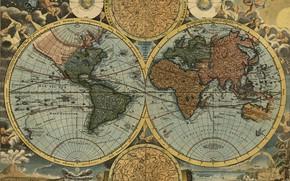 Обои путешествия, 1716, Иоганн Баптист Гоманн, карта мира, география