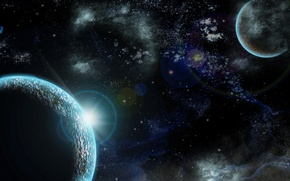 Картинка космос, свет, планеты