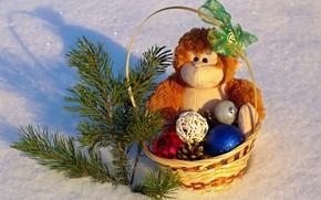 Картинка зима, снег, цветы, настроение, праздник, игрушки, новый год, позитив, обезьяна, подарки, праздники, новогодние шары