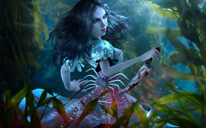 Картинка вода, девушка, платье, нож, под водой, ocean, alice, Alice: Madness Returns