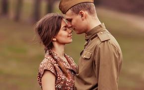 Обои гимнастёрка, пилотка, 9 мая, День Победы, встреча, солдат, девушка, парень, ретро, влюблённые