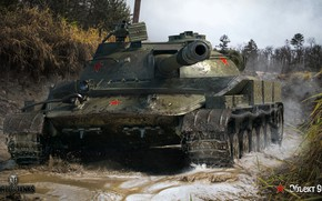 Обои дорога, средний, Объект 907, советский, WOT, World of Tanks, грязь, вода, танк, лес