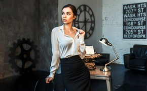 Картинка девушка, юбка, блузка, кабинет, пишущая машинка, Даша, Dashuta Berezina