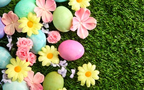 Картинка трава, цветы, Пасха, flowers, spring, Easter, eggs, Happy