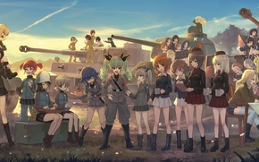 Картинка girl, happy, anime, army, asian, tank, japanese, oriental, asiatic, Girls und Panzer, seifuku, panzer
