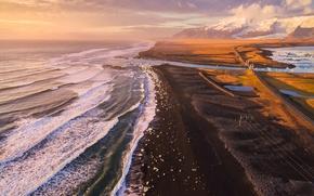 Картинка море, пляж, горы, берег, вид, лёд, Исландия