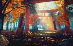 Картинка осень, природа, меч, арт, тории