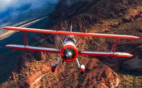 Обои самолет, природа, полёт, крылья, пилот