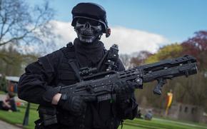 Обои солдат, оружие, маска, форма