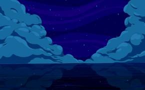 Картинка Облака, Море, Ночь, Рисунок, Звезды, Тучи, Штиль