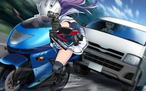 Картинка девушка, скорость, машина, Grisaia: Phantom Trigger, мотоцикл, пистолет