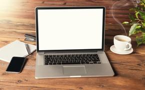 Обои кофе, техника, ручка, блокнот, телефон, ноутбук