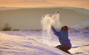 Картинка зима, девушка, снег, радость