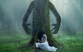 Обои дерево, девушка, природа