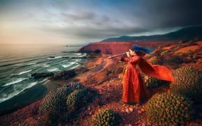 Картинка море, скалы, девочка, кактусы, ожидание, подзорная труба