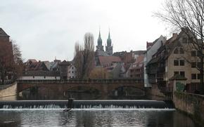 Картинка мост, река, дома, Германия, Бавария, Нюрнберг