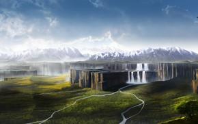 Картинка горы, природа, скалы, водопад, The higher worlds