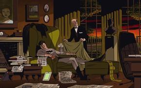 Картинка Фото, Ночь, Кресло, Дом, Бэтмен, Костюм, Забота, Семья, Герой, Комикс, Супергерой, Hero, Home, Batman, Night, ...