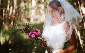 Картинка цветы, букет, невеста, фата, свадьба, боке, Olya Alessandra, Andreas-Joachim Lins