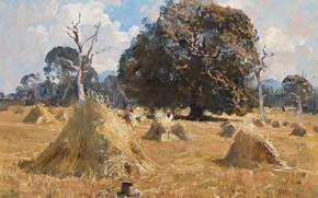 Картинка поле, пейзаж, картина, стог, Arthur Streeton, Артур Стритон, Oat Harvest