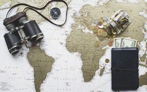 Обои бинокль, карта мира, мелочь, кошелёк, доллары, деньги, карта