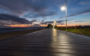 Картинка дорога, берег, закат