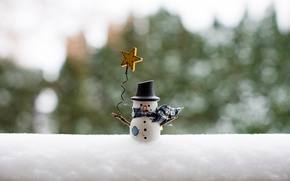Обои снег, игрушка, снеговик