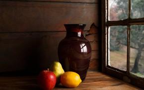 Картинка лимон, яблоко, груша, кувшин, натюрморт