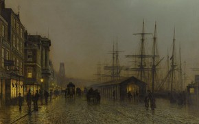 Картинка корабль, картина, мачта, набережная, городской пейзаж, Джон Эткинсон Гримшоу, John Atkinson Grimshaw, Глазго. Субботняя Ночь