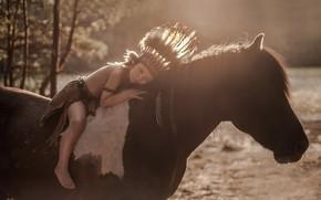 Картинка фон, конь, мальчик