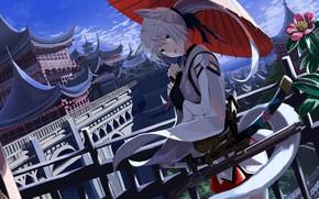 Картинка девушка, город, япония, зонт, ушки