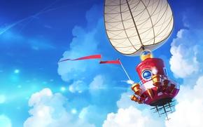 Картинка небо, облака, корабль, арт, парус, Nintendo, Super Mario Odyssey