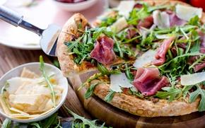 Картинка еда, сыр, пицца, бекон, пармезан, руккола