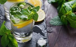 Картинка лимон, лёд, мята, лимонад