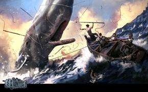 Картинка лодка, волна, кит, пасть, гарпун, The Hunt, The Whaler, китобои