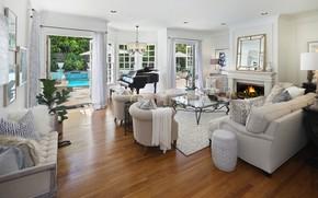 Картинка стол, диван, мебель, кресло, бассейн, камин, особняк, Design, гостиная, room, Living