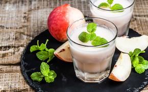 Картинка лед, яблоко, мята, лимонад