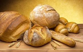 Обои еда, булочки, вкуснота, пшеница, колоски, Хлеб на столе, Хлеб-всему голова!, румяные корочки, картинка, выпечка