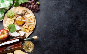 Картинка вино, яблоко, сыр, мед, виноград