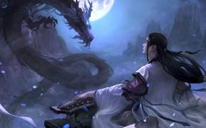 Картинка магия, дракон, игра, арт, fantasy, бард, локация, Moky lin, 2D ConceptArt