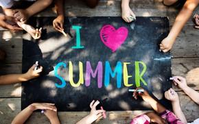 Картинка лето, дети, надпись, рисунок, руки