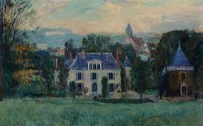 Картинка пейзаж, дом, картина, The House of Paulin, Альбер-Шарль Лебур, Albert Lebourg