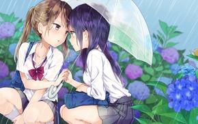 Картинка цветы, зонтик, девушки, дождь, очки, румянец, anime, art