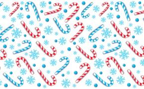 Обои снежинки, узор, палочки, конфеты